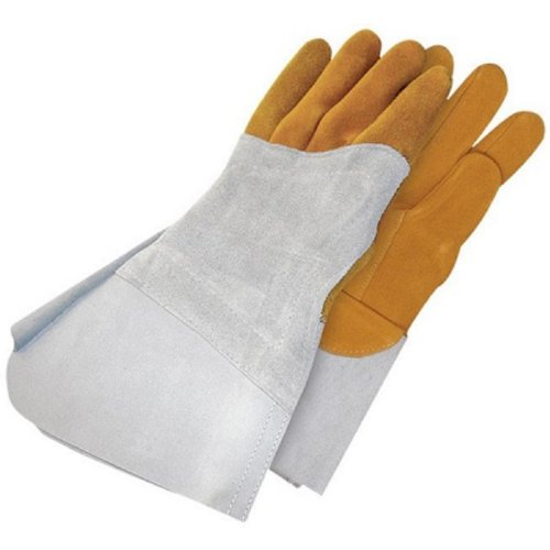 Bob Dale 64-1-1525-10 Premium Reverse Grain Deerskin Welder Glove with Left Hand Patch, Size 10, Grey/Tan