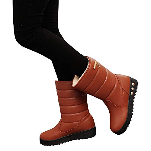 Calf Brown Oxfords (Hemlock Waterproof Snow Boots Women PU Leather Warm Boots Thickened Combat Boot Rain Boots Shoes Mid Calf Women Boots)