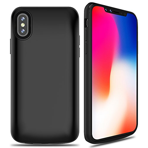 ALCLAP iPhone X Battery Case, 6000mAh Rechargeable Charger Case Portable Charging Case for iPhone X /10 (5.8 inch) Extended Case Battery/Lightning Cable Input Mode with Sync Through Technology