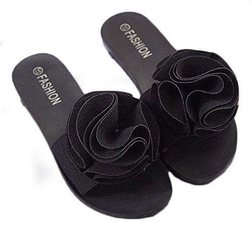 NEWZCERS Arrastre precioso de la palabra de la flor de las mujeres, zapatos antideslizantes planos de la playa negro