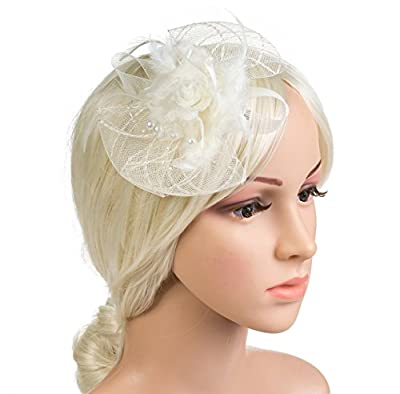 DancMolly Fascinator Clip for Women Feather Mesh Derby Hats Tea Party Pillbox Hat Brooch Flower Net Hairclip 1920s