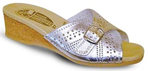 Worishofer Women's 251 Buckled Slide,Silver/Gold,39 EU (US Women's 9 M) (Pads Bar Custom)