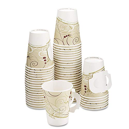 Dart 378HSM-J8000 Hot Cups, W/paper Handle, Symphony Design, 8oz, Beige, 1000/carton