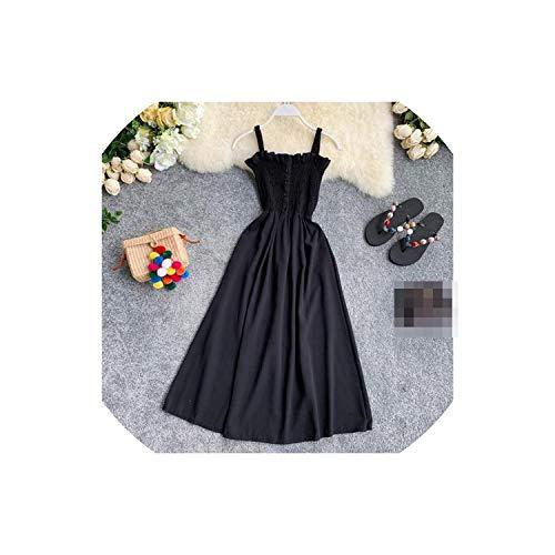 Little SU Solid Women Dress Sleeveless A-line Chiffon Long Dresses Beach Button Vestidos,Black,One Size