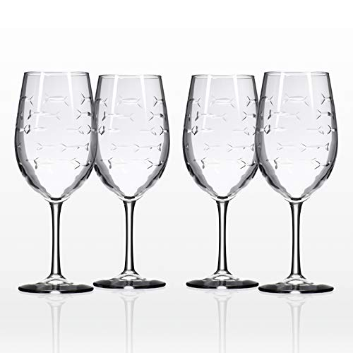 Rolf Glass School of Fish Large Wine Glass 18 ounces Set of 4 ()