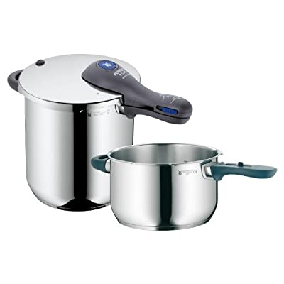 WMF Perfect Plus 8-1/2-Quart and 4-1/2-Quart Stainless Steel Pressure Cookers with Interchangeable Locking Lid from WMF