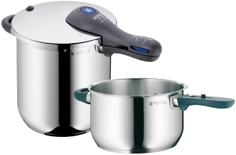 WMF Perfect Plus 8-1 2-Quart and 4-1 2-Quart Stainless Steel Pressure Cookers with Interchangeable Locking Lid