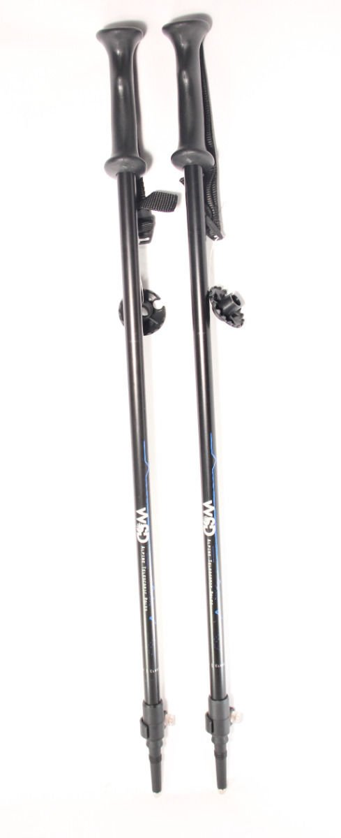 Ski poles Telescopic adjustable Collapsible Adult alpine downhill pair with baskets black/silver/blue 7075 Aluminum adjustment from 115cm to 135 cm.