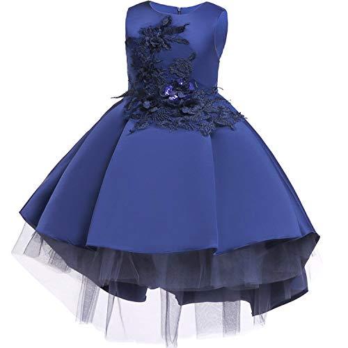 Baby Girls Infant Embroidery Dress Wedding Toddler High-end Dress Flower Dress,D0582-Navy,8]()