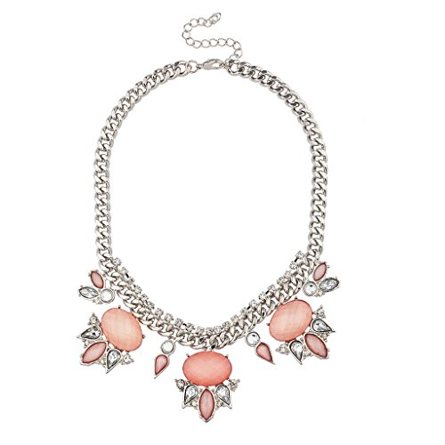 Lux Accessories Peach Pink Pave Crystal Teardrop Statement Necklace