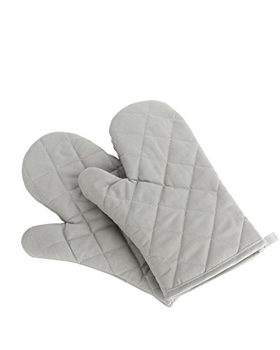 Nachvorn Oven Mitts, Premium Heat Resistant Kitchen Gloves Cotton & Polyester Quilted Oversized Mittens, New Gray ()