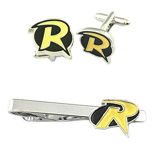 Outlander DC Comics - Robin Cufflink & Tiebar - Set of 2 Wedding Superhero Logo w/Gift Box by Outlander