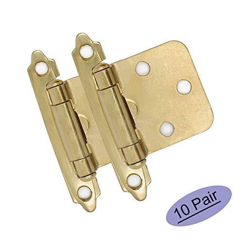 goldenwarm Brushed Brass Cabinet Hinges Variable Overlay Kitchen Cabinet Hinges SCH30BB Decorative Hinges for Cabinets Face Mount 10 Pairs(20 Packs) Brushed Brass Spring Hinges