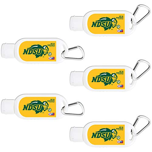North Dakota State Bisons Sport Sunscreen 5-Pack SPF 30 Travel Size with Clip, Water and Sweat Resistant 80 Minutes, UVA UVB Protection. Gifts for Men and Women.