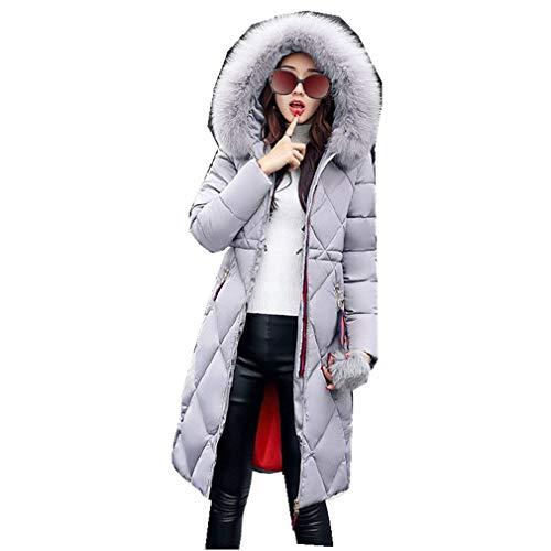 Femme Doudoune Longues Manteau Automne Hiver Spcial Style Fashion Casual Unicolore avec Poches Fermeture clair Col en Fausse Fourrure Chemine Stepp Hiver Manteau Quilting Blouson Grau