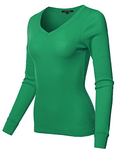 Green Ribbed Kelly (Awesome21 Basic Casual Solid Long Sleeve V-Neck Thermal Tops Kelly Green Size S)