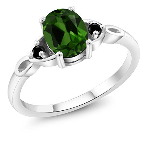 1.27 Ct Oval Green Chrome Diopside Black Diamond 925 Sterling Silver Ring (Diopside Green Ring)