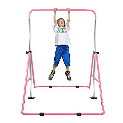 YEEGO Expandable Gymnastics Bar, Folding Horizontal Kip Bars Junior Premium Gymnastic Equipment Monkey Climbing Tower Home Training for Kids (Pink)