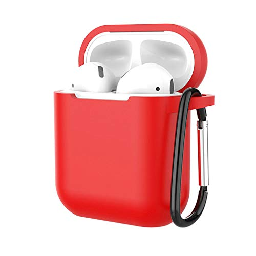 YRD TECH Case Protective Silicone Cover and Skin with Ear Hook for Apple AirPods, Best Gift for Girls and Women (Red) ()