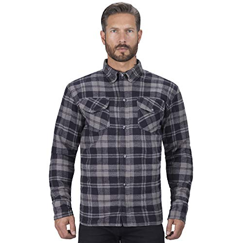 Viking Cycle Motorcycle Flannel Shirt for Men (Medium) Black
