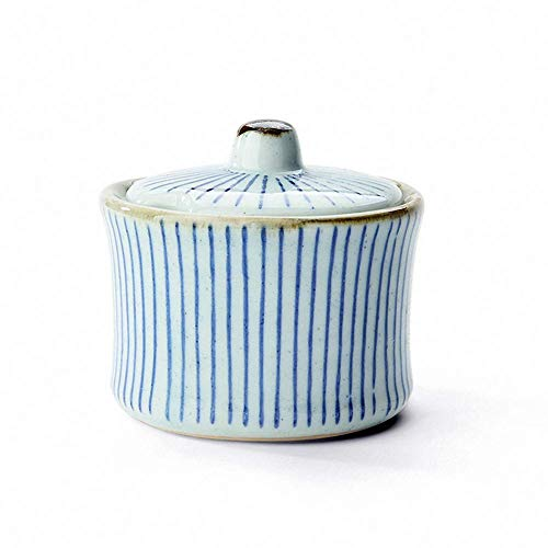 Japanese Retro Stripe Ceramic Small Sugar Bowl Salt Spice Pot Pepper Storage Jar Seasoning Pot Container Condiment Box with Lid for Home Kitchen, Assorted Blue and White ()