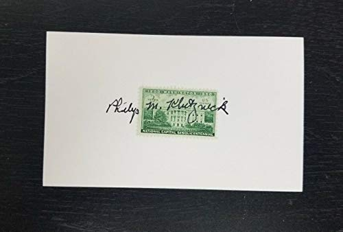 - US Secretary of Commerce Philip Klutznick Hand Signed Index Card/Stamp W/COA