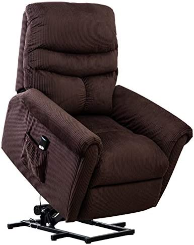 Bonzy Home Power Lift Recliner Chair with Pocket, Heavy Duty Safety Motion Reclining, Fabric Living Room Chair,Overstuffed Design Brown