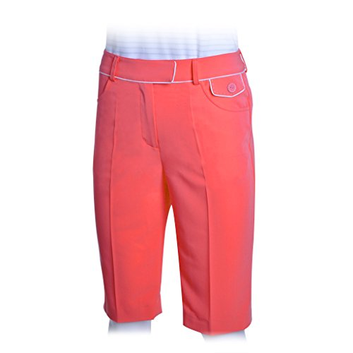 (Monterey Club Ladies' Stretchable Peach Twill Bermuda w/Piping Detail #2870(Salmon Pink/White,Size:14))