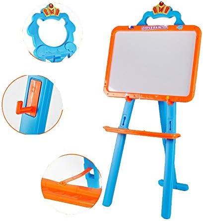 お絵かきボード 両面描画ボードイーゼルチョーク黒板ホワイトボード子供イーゼルボード幼児教育玩具調整可能なデラックス磁気スタンディングアートイーゼル折りたたみ (色 : オレンジ)