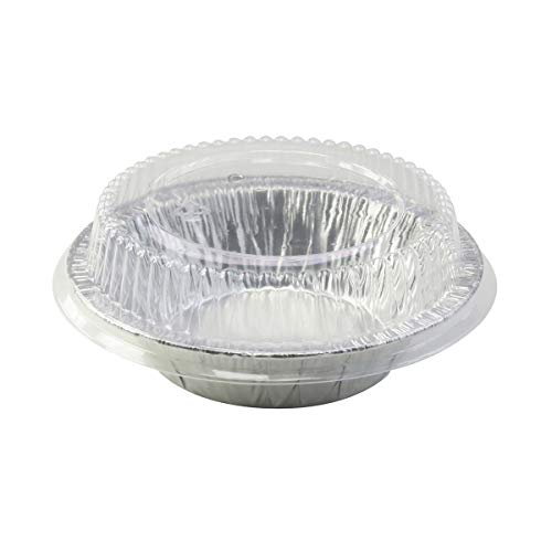 New Disposable Aluminum 5 inch Tart Pan/individual Pot Pie Pan w/ Clear Dome Lid -501P (50)