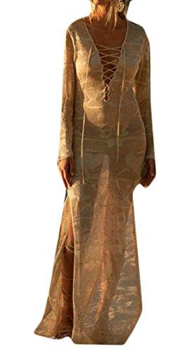 Coolred Cover Flyaway Kaki Maglia Divise donne Trasparente Vestito Lunga Lunga Spiaggia Up fSFqwf4