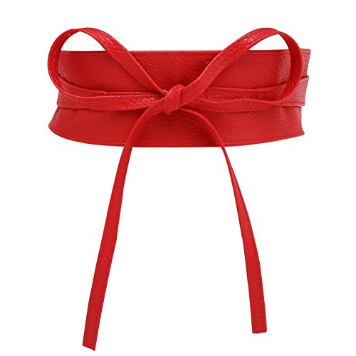 CHIC DIARY Fashion Women Faux Leather Bow Tie Waistband Elastic Stretch Waist Strap Cummerbund Waist Band Belt for Dress (Red)