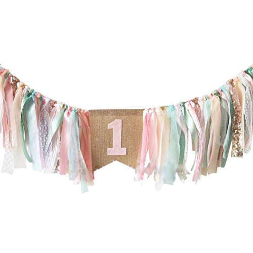 FCLANDING HighChair Banner for 1st Birthday of Girls - First Birthday Decorations for Photo Booth Props, Pink Tiny Fresh INS style Birthday Souvenir and Gifts, Best Party Supplies