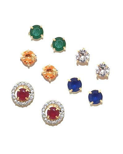 0ee94b0debe Buy QURVED Multicolor Romantic Round Shaped Stone Changeable Stud Earrings  Set of 5 Pairs for Girls and Women Online at Low Prices in India