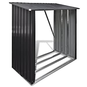 Daonanba Durable Garden Log Storage Shed Galvanised Steel Practical Storage Solution Grey