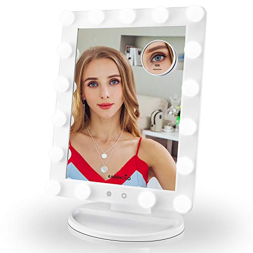 Easehold Hollywood Makeup Mirror with Light 17 LED Dimmable Table Mirror with 10X Magnification (White)