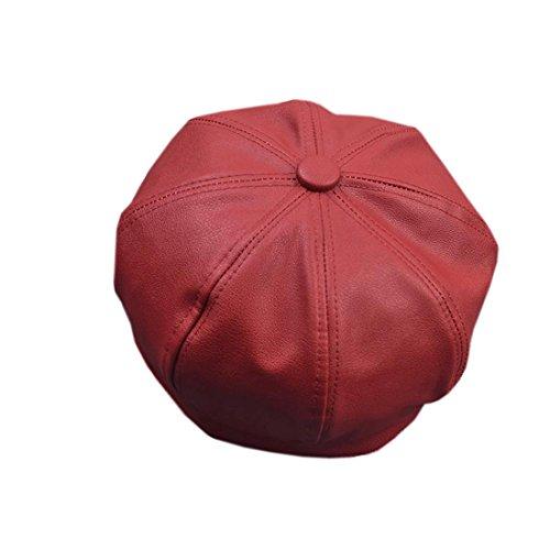 Chapeau Pure Femme Citrouille En Rouge Couleur Acvip Vineux Béret Pu Zx7qx1f