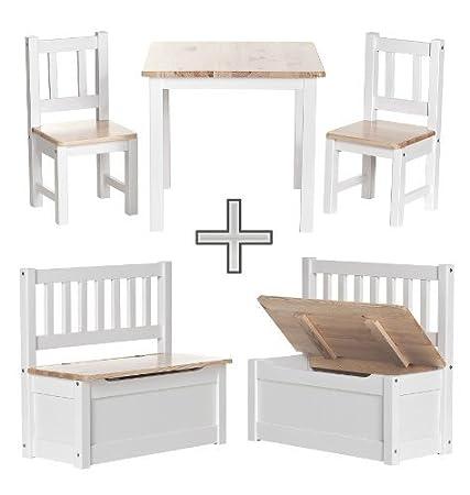 BABYDAY Salotto per bambini | 1 tavolo, 2 sedie, 1 cassapanca | Pino nordico | Mobili di massima qualità per camerette | Set completo di mobili per bambini incl. panca con contenitore | 4 colori a scelta IMPAG GmbH