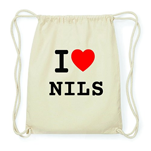 JOllify NILS Hipster Turnbeutel Tasche Rucksack aus Baumwolle - Farbe: natur Design: I love- Ich liebe cGdgn2GhD