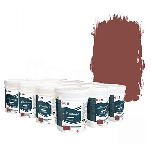(Montage Signature Interior/Exterior Eco-Friendly Paint, Brick Red - Low Sheen, 60 Gallon (Pallet of 12, 5-Gallon Buckets))