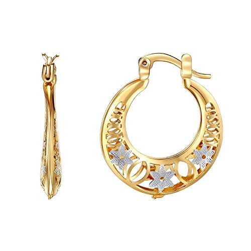 Earrings Tone Two 18k (Orangelove 18K Gold Plated Women's Two-Tone Butterfly Hoop Earrings Wedding Enagement Party Birthday Gift (Pretty Hoop Earrings 35mm))