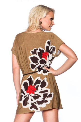 Luftiges Strandshirt mit Blume Bindegürtel und Strass in Camel