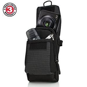 Shoulder Strap Camera Case Bag with Weather-Proof Exterior , Storage Pocket & Scratch-Resistant Interior Lining by USA GEAR from Accessory Power