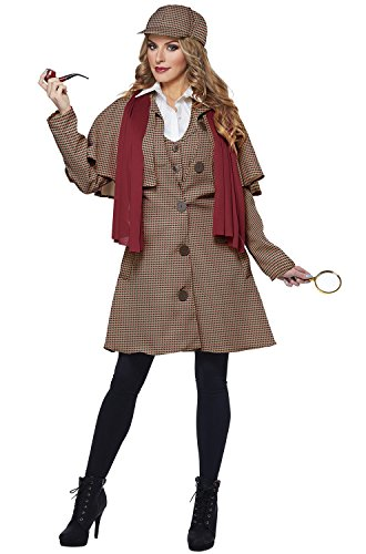 California Costumes Women's Lady Sherlock Adult Woman Costume, tan/red, Small -