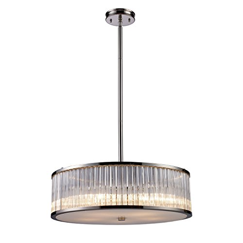 (Elk Lighting 10129-5 Braxton 5 Light Crystal Pendant or Semi Flush Mount Ceiling Lighting Fixture, Polished Nickel, Ribbed Glass Cylinders with White Diffuser, B11875)