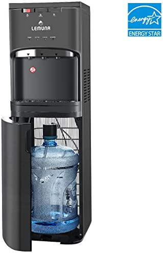 LeMuna Water Dispenser- Bottom Loading Water Cooler for 3 or 5 Gallon Bottle with Hot Cold and Normal Temperature Settings, Energy Star ETL Approved, Child Safety Lock and Removable Drip Tray, Stainless Steel Black