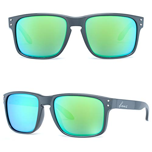 Bnus italy made classic sunglasses corning real glass lens w. polarized option (Pearl Grey/Green Flash Polarized, Polarized Size:56mm(M))