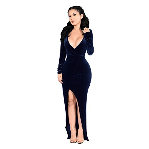 Slim Autumn New Style Woman One-Piece Long Dress(Blue) - 1