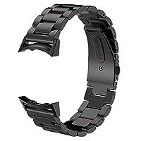 Bandas Gear S2 V-Moro Banda de repuesto de metal de acero inoxidable sólido con adaptadores para el reloj inteligente Samsung Gear S2 (negro metal)