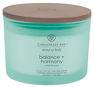 Chesapeake Bay Candle Mind & Body Coffee Table Scented Candle, Balance + Harmony (Water Lily Pear)